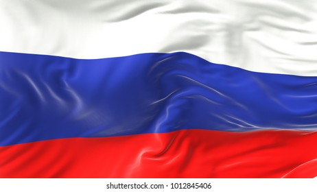The Russian flag is flying in the wind