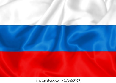 Russian Flag flying in the wind.