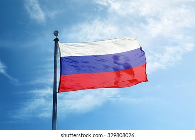 Russian flag on the mast