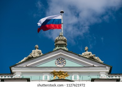 Russian flag on Winter Palace - The Hermitage. Saint Petersburg, Russia.