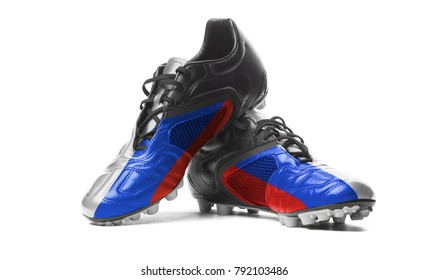 The Russian flag painted on football boots. Isolated on white background.