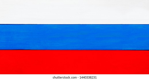 Russian flag in panorama / wide banner tricolors - background design for Russia, Mosocw, Leningrad and Russian culture.