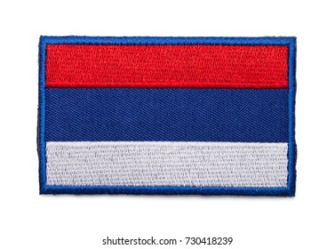 Russian Flag Patch Isolated on a White Background.
