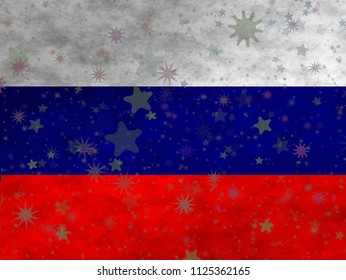Russian flag with stars scattered around