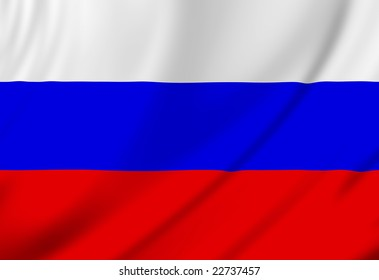 Russian flag waving in the wind