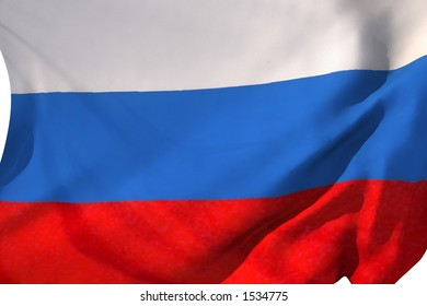 Russian flag in the wind.