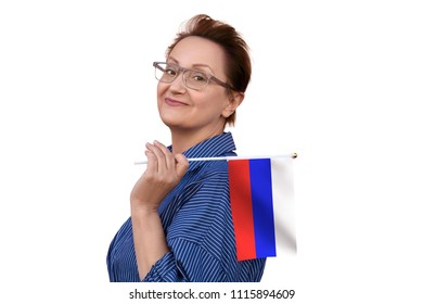 Russian flag. Woman holding flag of Russia. Nice portrait of middle aged lady 40 50 years old with a national flag isolated on white background.Learn Russian. Visit Russian Federation concept.