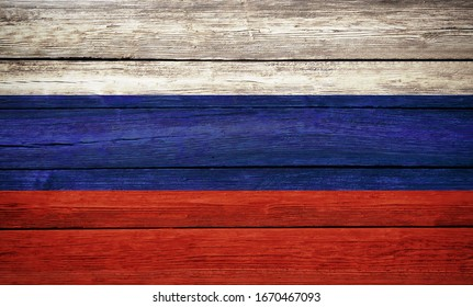 Russian flag wooden plank background