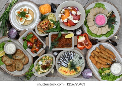 russian food dishes  on the wooden table top view