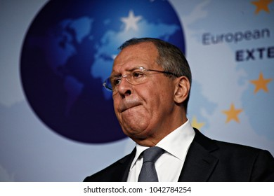 Russian Foreign Affairs Minister Sergei Lavrov and  Federica Mogherini, High Representative of the EU for Foreign Affairs give a press conference  in Brussels, Belgium on Jul. 11, 2017