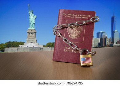 Russian foreign passport with metal chain and lock. USA Department of State blocked limited US visa issue for Russian people. US Anti russian new sanctions. Sanctions campaign propaganda illustration