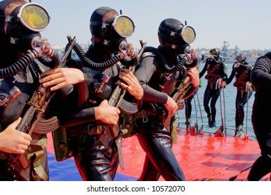 Russian frogmen on Day of Russian Navy in Sevastopol (Crimea, Ukraine)