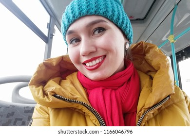 Russian girl in winter on the bus