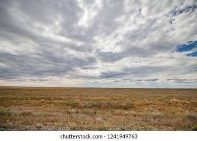 russian gold steppe in autumn. majestic open space under dramatic clouds.