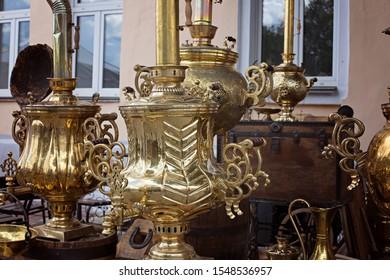 Russian golden samovars. Russian folk traditions of tea drinking