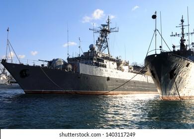 Russian gorya-class minesweeper in bay of Sevastopol