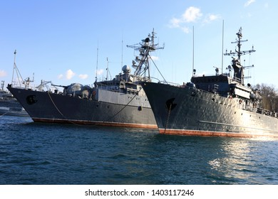 Russian gorya-class minesweepers in bay of Sevastopol
