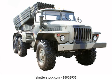 "Russian ""GRAD"" Multiple Rocket Launcher System. The Grad system is the world's most widely used multiple-launch rocket system"
