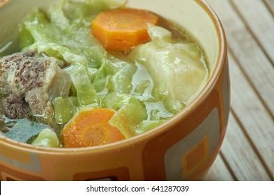 Russian green cabbage shchi. close up
