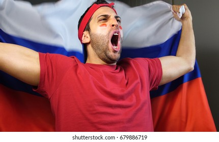 Russian Guy Waving Russia Flag