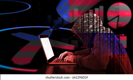 Russian hacker with binary hoddy typing on a laoptop in front of a ballot paper and charts in us flag texture election manipulation concept
