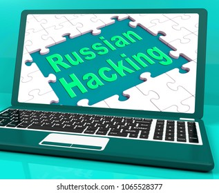 Russian Hacking Laptop Computer Showing Attack 3d Illustration. American Democratic Political Campaign Hacked By Online Cyber Criminals.