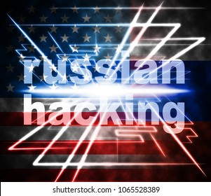 Russian Hacking Light Burst Showing Attack 3d Illustration. American Democratic Political Campaign Hacked By Online Cyber Criminals.