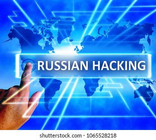Russian Hacking World Map Showing Cybercrime 3d Illustration. American Democratic Political Campaign Hacked By Online Cyber Criminals.
