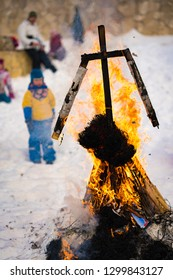 Russian holiday - Maslenitsa, the burning of the figure of Winter