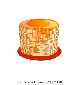 Russian holiday Maslenitsa. Pancake is a symbol of Shrovetide, isolated on white. Russian blini with honey, hand drawn, bright cartoon style