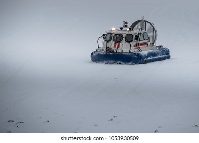 Russian hovercraft on the snow