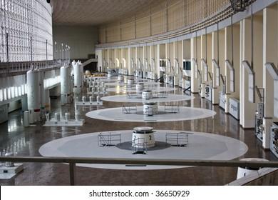 russian hydro power plant machine hall interior