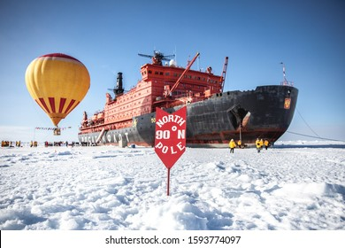 russian icebreaker at the geographical North Pole