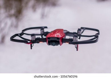 RUSSIAN, KALUGA- MARCH 27:Close-up on the DJI Mavic Air Drone Red on March 27,2018