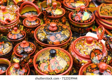 Russian khokhloma, traditional wood painting handicraft souvenirs, selective focus
