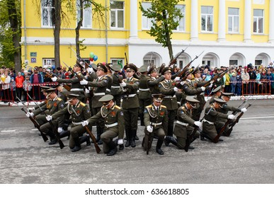 RUSSIAN, KOZELSK, MAY 9, 2017, Victory Day, Military Parade on anniversary of Victory in Great Patriotic War. Soldiers marching show at mass celebrations people