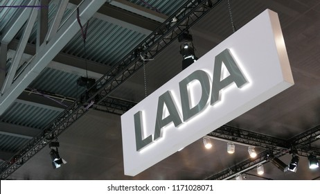 Russian LADA sign at the exhibition MIMS 2018. SEP 03, 2018 MOSCOW, RUSSIA