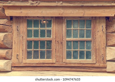Russian log facade with one window