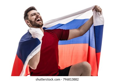 Russian male athlete / fan celebrating on white background