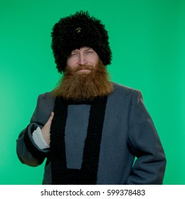 Russian man with beard wearing a hat