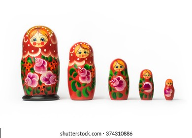 Russian matryoshka - each of a set of brightly painted hollow wooden dolls of varying sizes, designed to nest inside one another