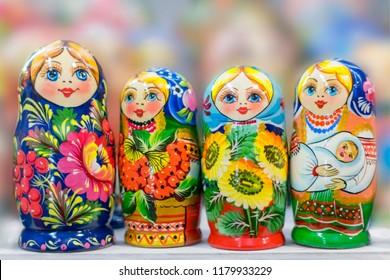 Russian matryoshka, nesting doll close-up.