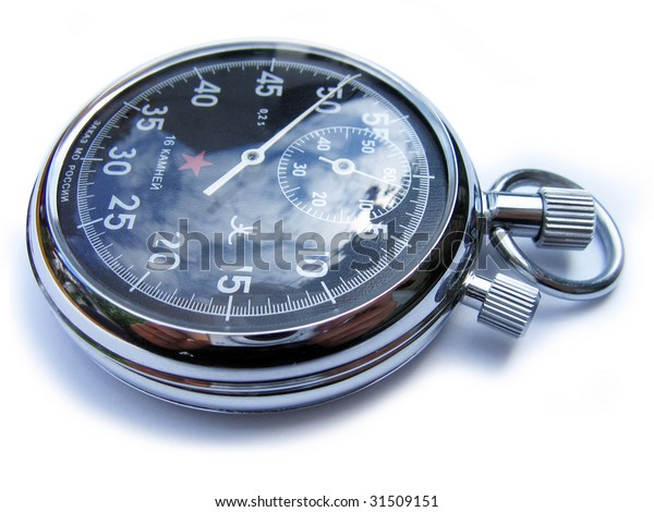 Russian mecanical stopwatch, isolated on white background.