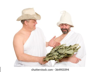 Russian men in a traditional attire of Russian bath. From a series of Russian bath