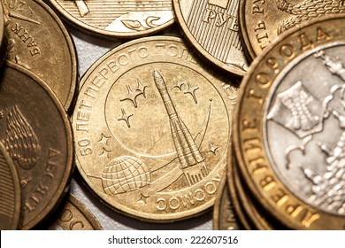 Russian metal coins of ten rubles