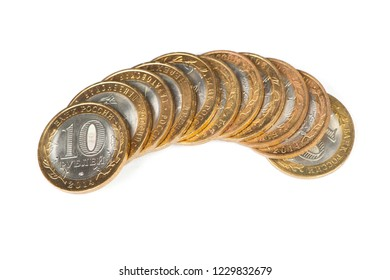Russian metallic roubles coins stack isolated on white background