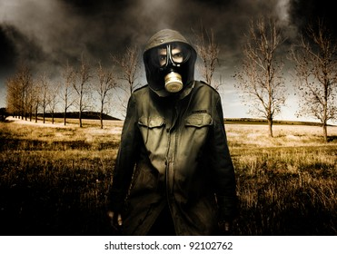 Russian Military Fighter Standing In A Dead Autumn Field As Contaminated Poisonous Air Falls From The Sky During An Attacking Air Raid Bomb
