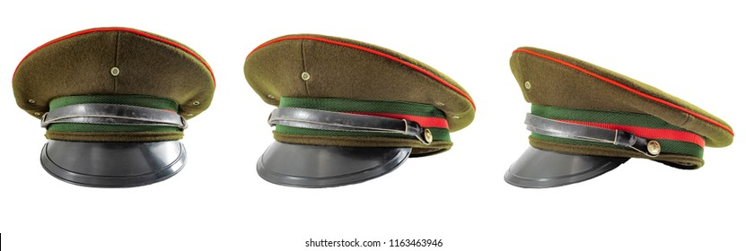 Russian military hat and soviet army uniform concept with multiple angles of army officer caps isolated on white background with clipping path cutout