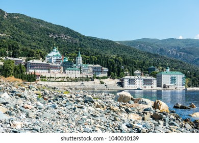 Russian monastery on a coast of aegean sea below the holy mountain Athos in Greece