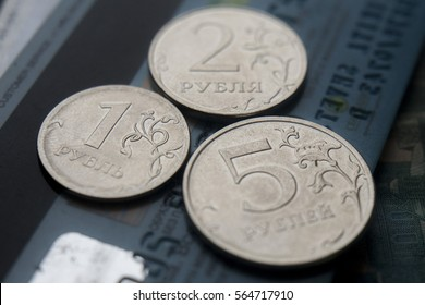 Russian money coins and credit cards